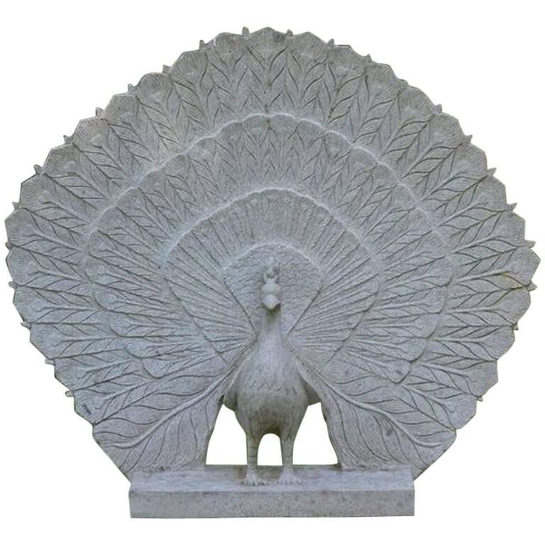Sculpture of Granite Peacock 1