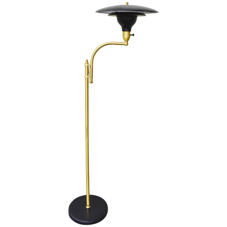 Rare sight light telescoping floor lamp brass and black for G 10 floor lamp black