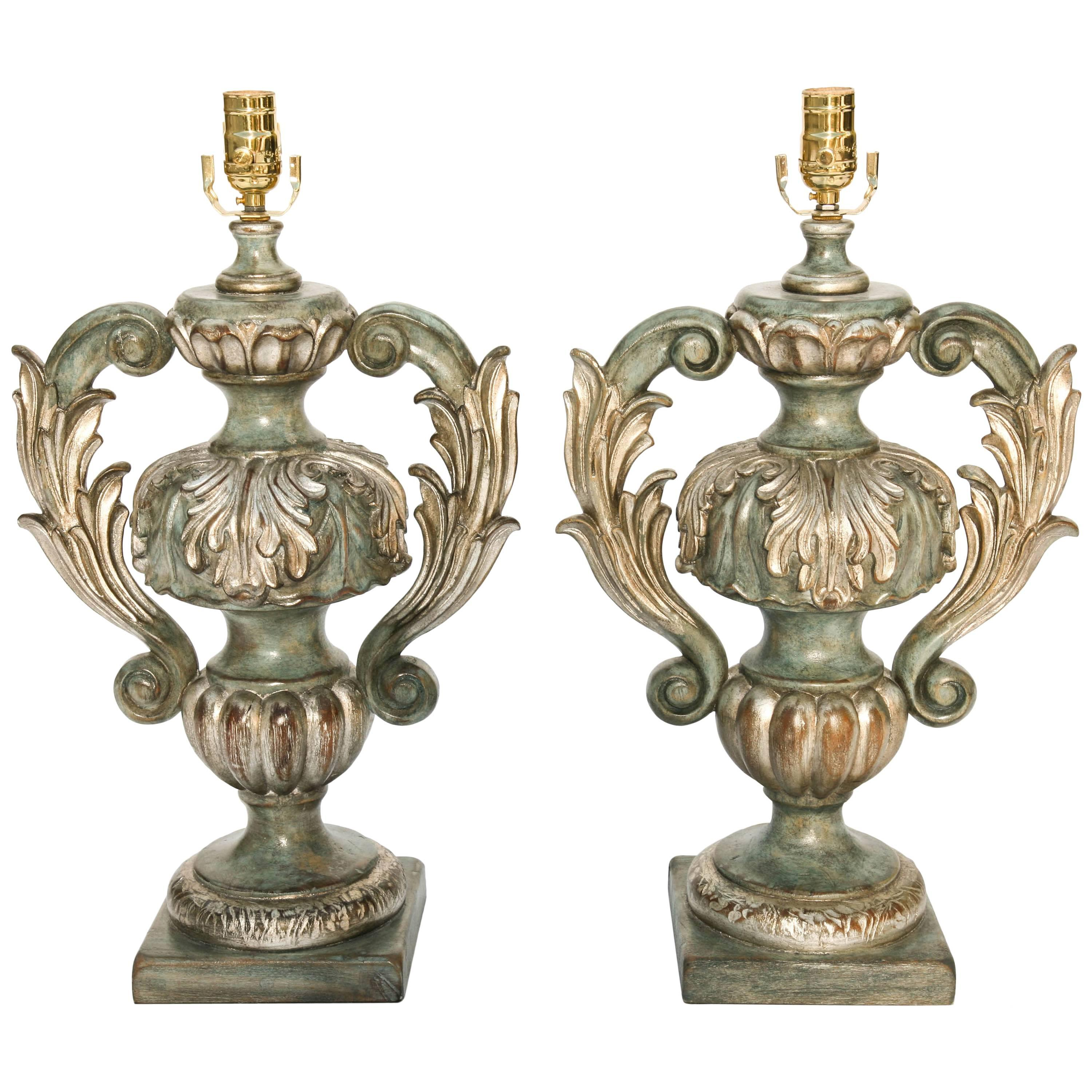 Pair of Italian Carved Wood Urn Lamps