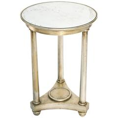 Round Table, in Empire Taste, of Silver Giltwood, Having Distressed Mirrored Top