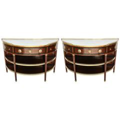 Pair of 19th Century French Demilune Dessert Consoles