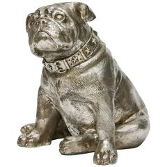 Silver Plated Bronze Seated Bull Dog by C H Valton