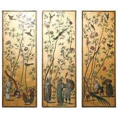 Set of Three Chinoiserie Wood Panels by Palladio