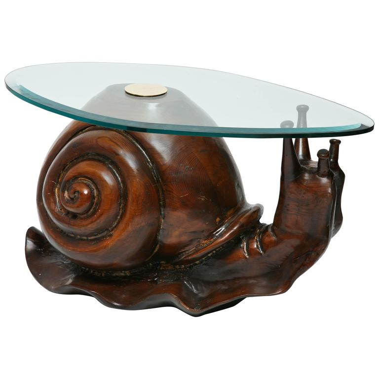 Carved Wood Snail Sculpture Table By Federico Armijo 1