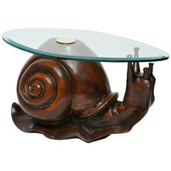 Carved Wood Snail Sculpture Table by Federico Armijo