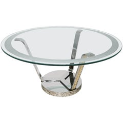 Round Dining in Polished Chrome, Brass and Etched Glass