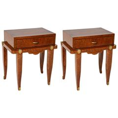 Pair of Art Deco Bedside Tables in Amboyna, Mother-of-Pearl and Bronze Doré