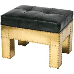 Rectangular Bench with Studded Brass and Leather Upholstery, Sarreid Ltd.