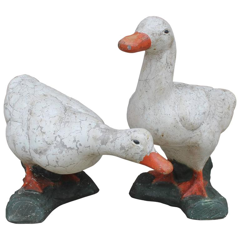 High Quality Pair Of Folky Painted Concrete Ducks Garden Statues For Sale