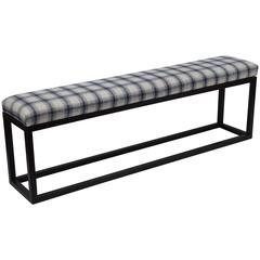 Metal Bench with Vintage Fabric Seat