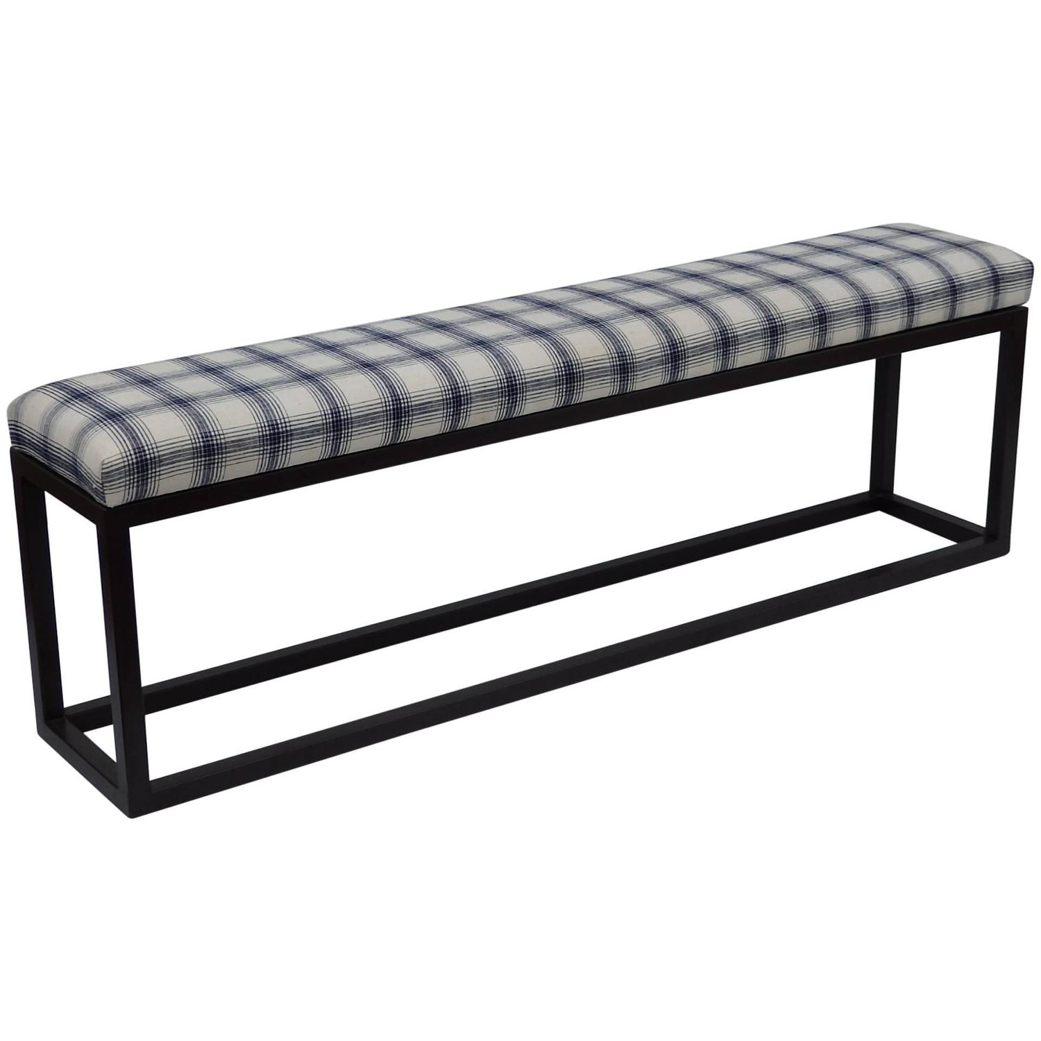 Metal Bench With Vintage Fabric Seat For Sale At 1stdibs