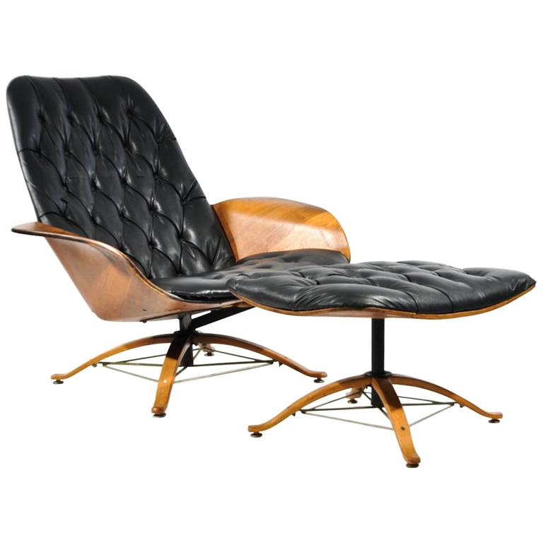 1960s Luxe Lounge Chair and Ottoman by George Mulhauser for Plycraft at 1stdibs