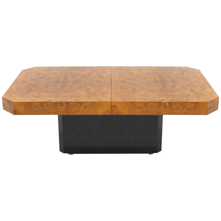 Rizzo Style Rectangular Burl Wood Coffee Table With Liquor Storage For Sale At 1stdibs