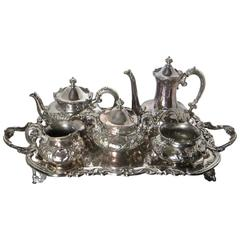 American Five-Piece Silver Plate Tea Service with Tray, Late 19th Century