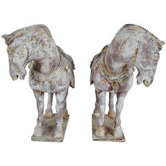Pair of 19th Century Chinese Carved Wood Horses