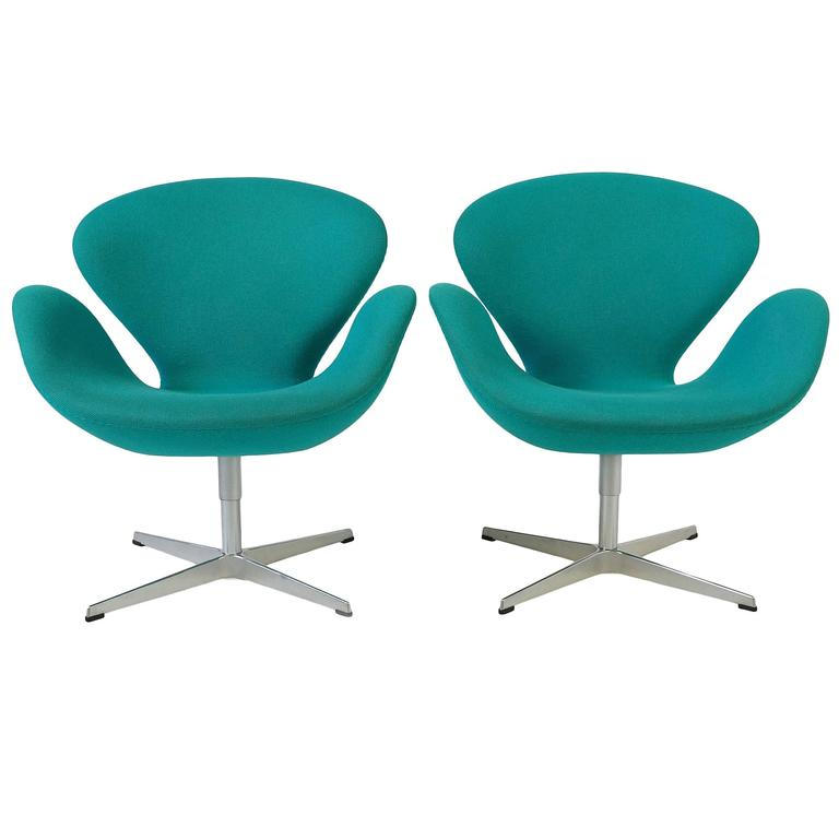 Set of two turquoise swan chairs by arne jacobsen at 1stdibs for Swan chairs for sale