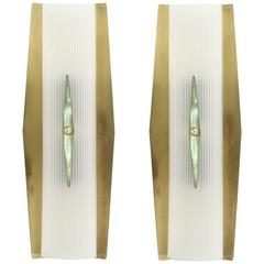 Pair of Functionalist Wall Sconces in Brass by Høvik Lys, 1950s