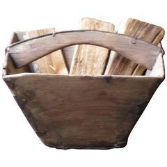 19th Century Wooden Log Basket or Log Holder