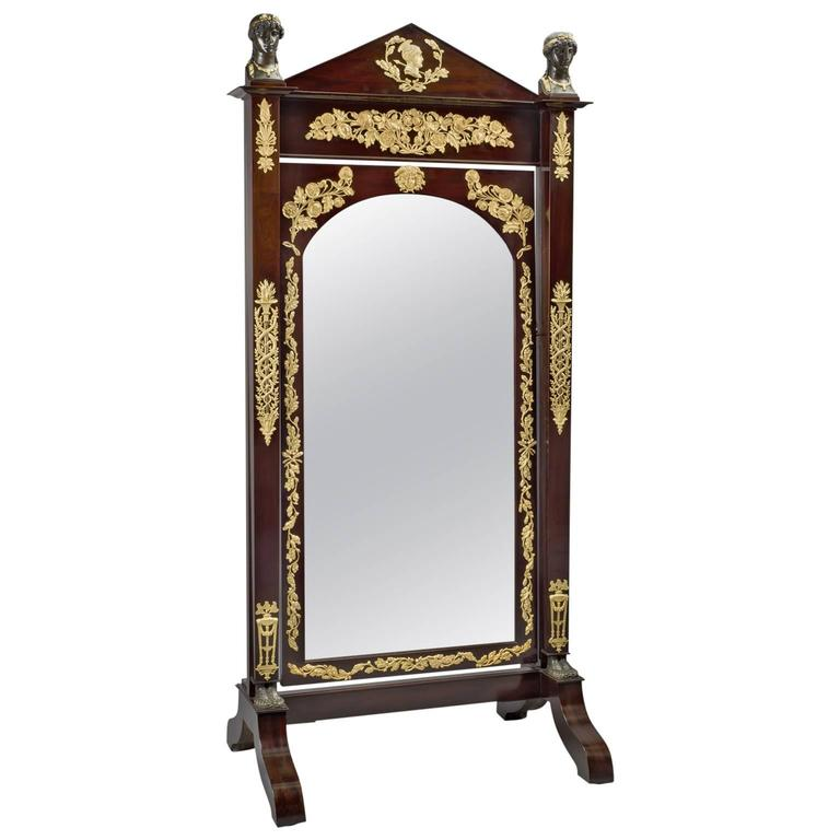 Empire Mahogany Cheval Mirror