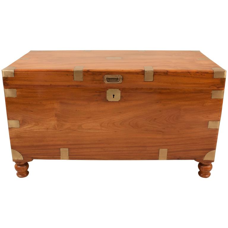 Large English Camphor Wood Sea Captain's Chest or Trunk
