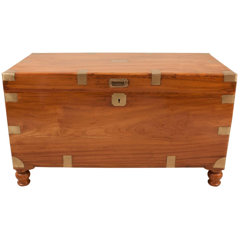 Large 19th Century English Camphor Wood Captain S Chest Or