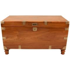 Large 19th Century English Camphor Wood Captain's Chest or Trunk