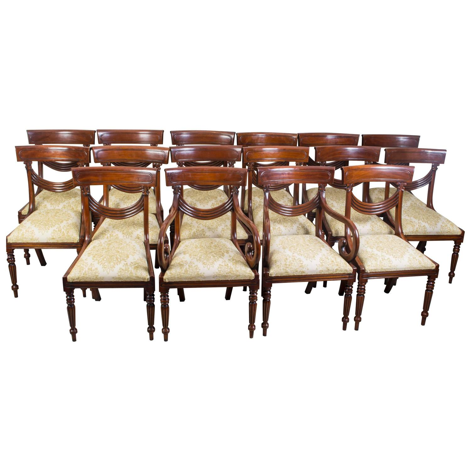 Set Of 16 Vintage Regency Style Dining Chairs Swag Back For Sale At 1stdibs