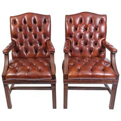 Pair of English Handmade Gainsborough Leather Desk Chairs