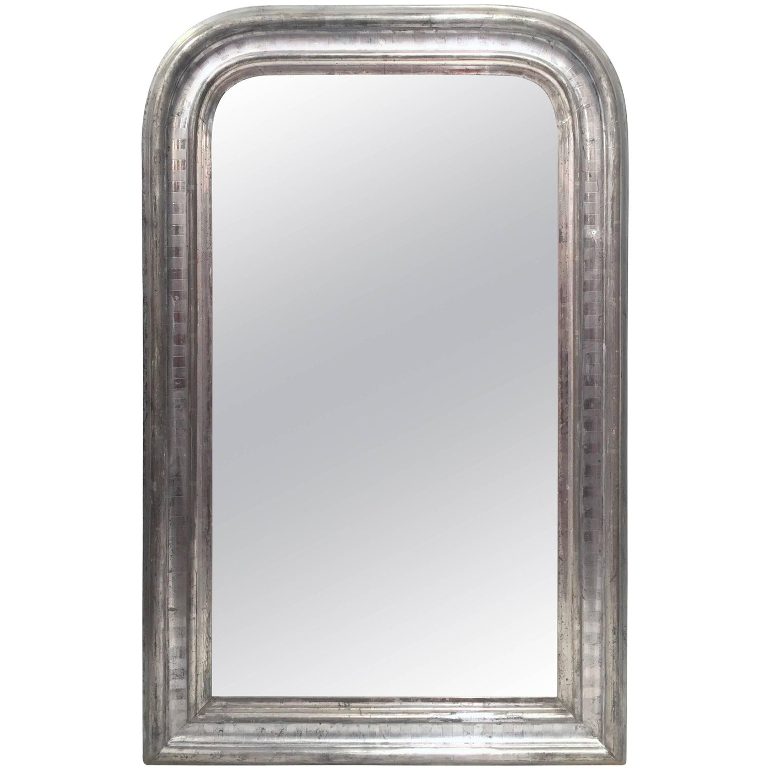 19th century french louis philippe silver leaf mirror for for Silver mirrors for sale