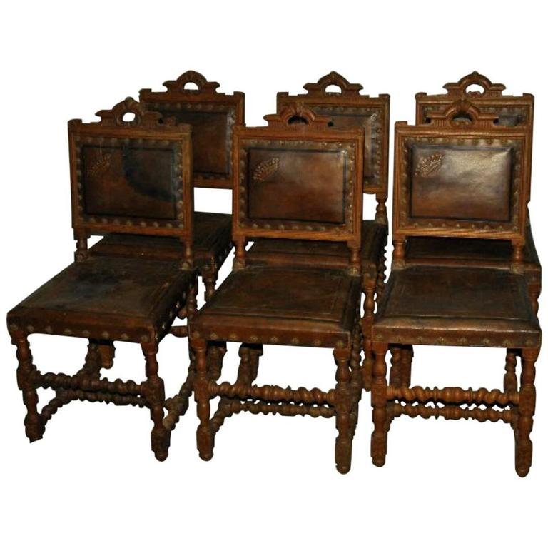 Set Of Six Antique Spanish Colonial Carved Oak And Leather