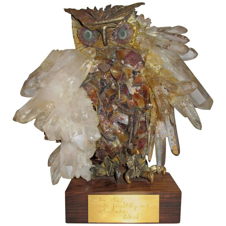 Brutalist Owl Sculpture Attributed to French Sculptor Claude Barbat 1