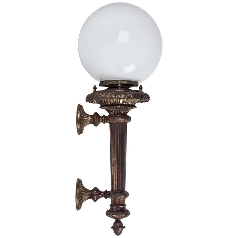 Bronze Wall Sconces with Opal Glass Globes, Circa 1900 For Sale at 1stdibs