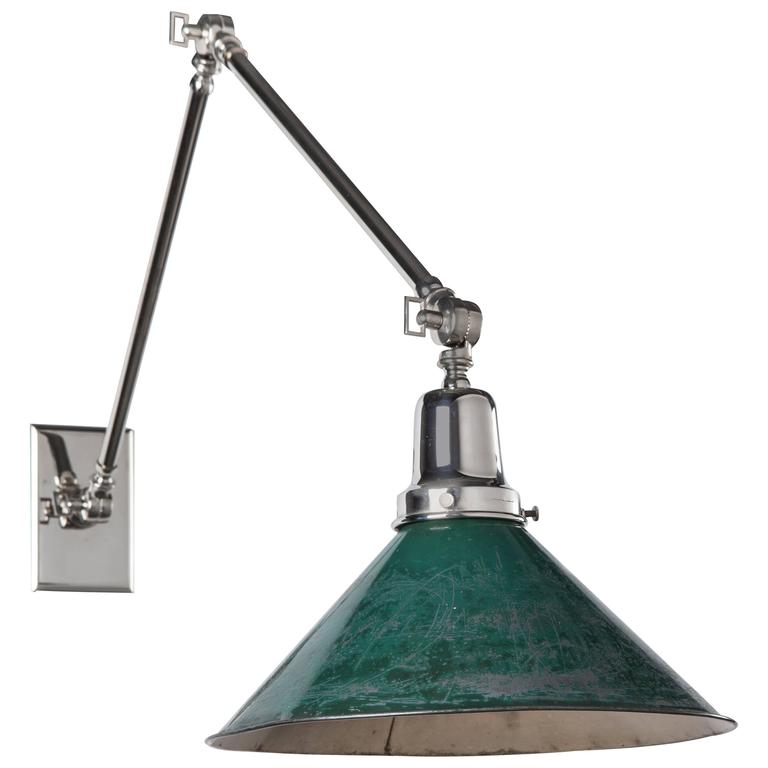 Articulated Sconce with Antique Industrial Green Shade, Circa 1910