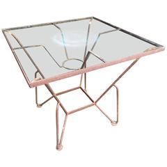 Iron and Glass Mid-Century Garden Table