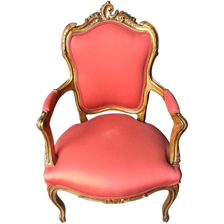 Antique Carved Giltwood Chair, France, 19th Century