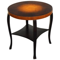 Swedish Art Deco Dark Flame Birch and Golden Elm Side Table with Shelf