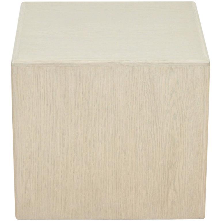 Small Whitewashed Oak Cube Table by Lawson-Fenning