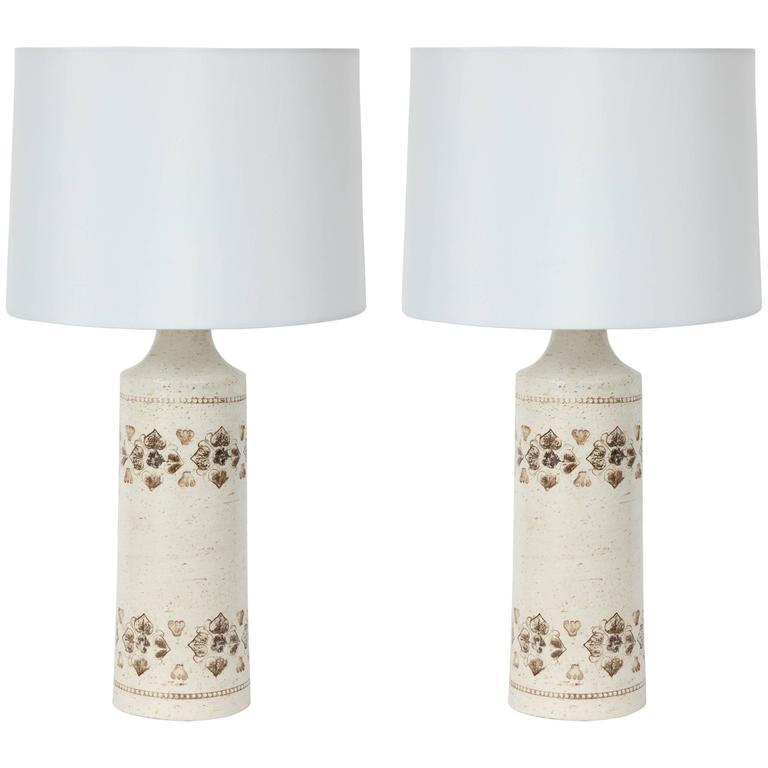 Pair of Bone White Glazed Ceramic Lamps by Bitossi