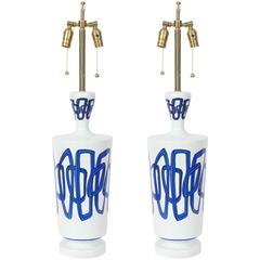 Nicolas Blandin Blue Trimmed White Porcelain Ceramic Lamps