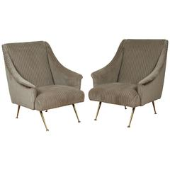 Pair of Italian Lounge Chairs in Wide Whale Velvet
