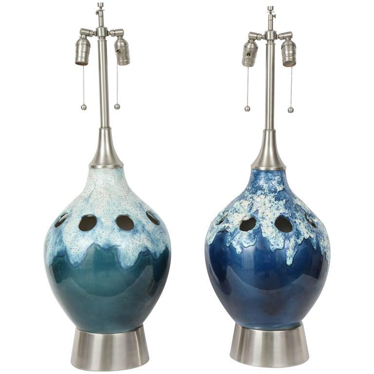 Pair of Italian Ocean Blue/Green Ceramic Lamps