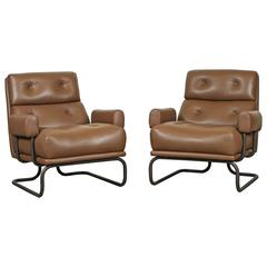 Pair of Bronze and Leather Chairs for Stendig