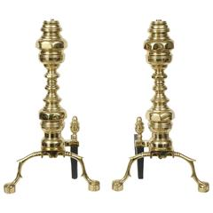 Pair of Massive Brass Engine Turned Andirons