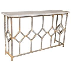 Industrial Style Steel Console Table with Cement Top
