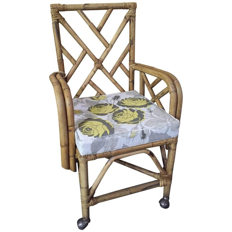 bamboo chair reupholstered with christopher farr fabric