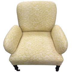 French Chair with Casters, Reupholstered in Lulu DK's Bungalow Fabric