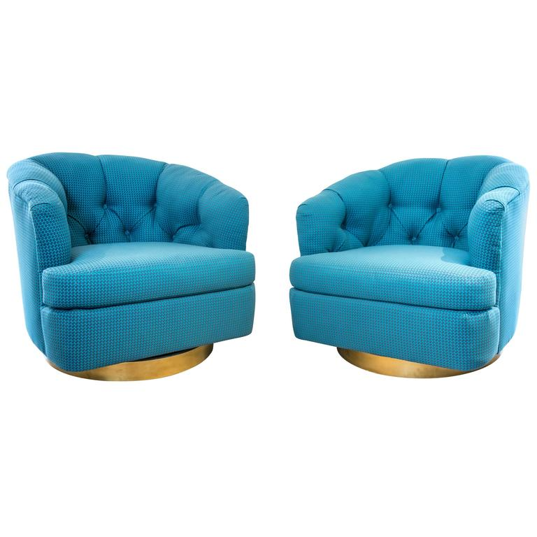 Pair of Vintage Swivel Chairs with Gold Bases in Aqua 1 - Pair Of Vintage Swivel Chairs With Gold Bases In Aqua At 1stdibs