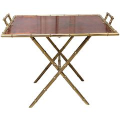 French Brass and Burled Walnut Adjustable Cocktail or Side Table