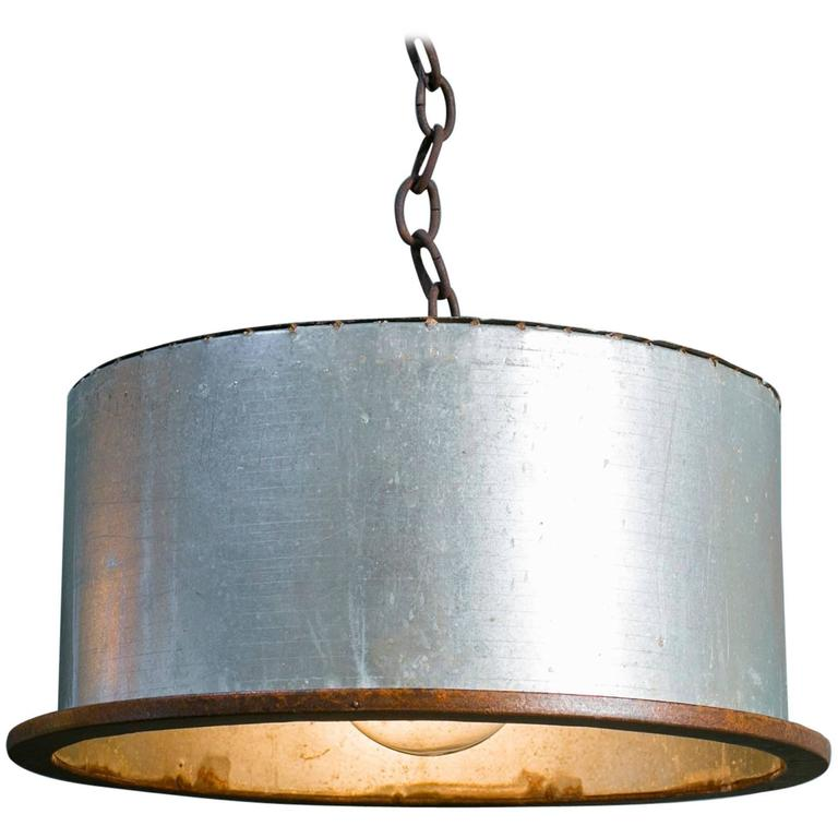 Items Similar To Galvanized Light Rustic Industrial: Rustic Industrial Galvanized Pendant With Iron Banding At