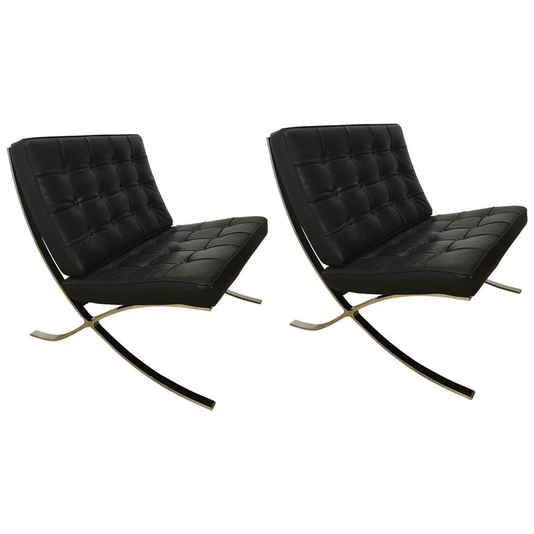 Pair of Barcelona Lounge Chairs at 1stdibs
